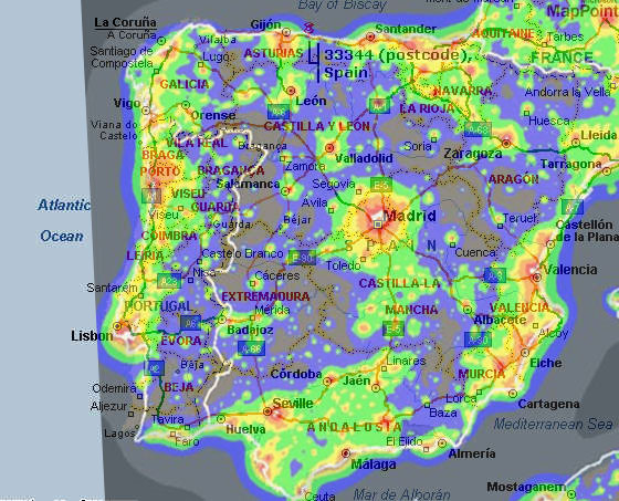 light pollution map of spain